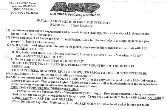 Arp head stud instructions
